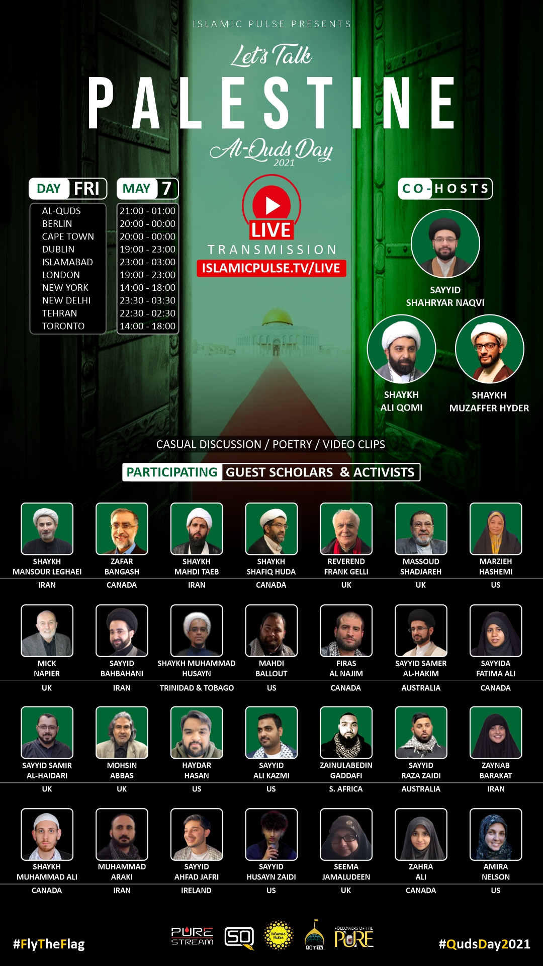 A poster of the Quds Day 2021 event with speakers names and photos